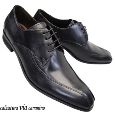VIA VC1504 3E ブラック メンズ ビジネスシューズ ヴィアカミーノ スワールモカ 革靴 冠婚葬祭