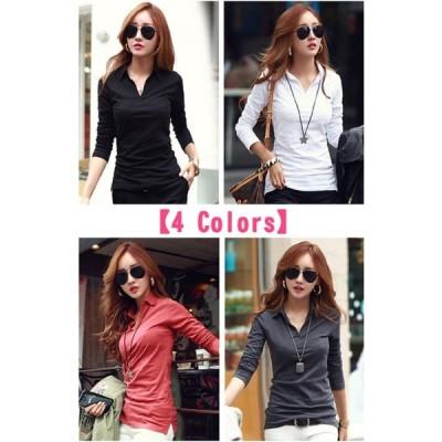Tシャツ カットソー ポロシャツ スキッパー Vネック 衿付き 長袖 レディース 4色 4サイズ