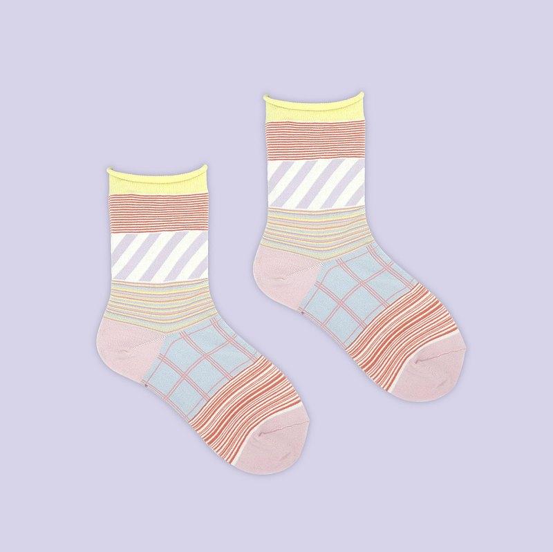 理髮廳/粉(M)-MIT設計中筒襪