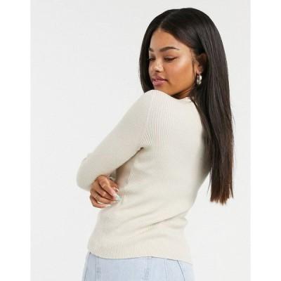 ピーシーズ レディース ニット&セーター アウター Pieces ribbed sweater in cream CREAM