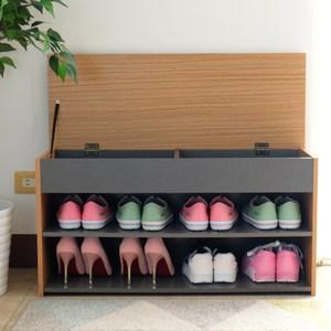 【EASY HOME】加寬上掀蓋式收納穿鞋椅(木紋+灰)
