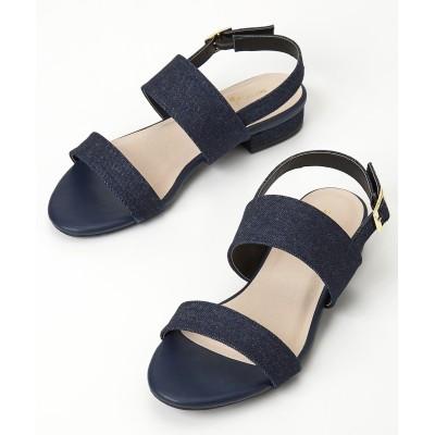 【ゆったり幅】Wベルトローヒールサンダル(低反発中敷)(ワイズ4E) サンダル, Sandals