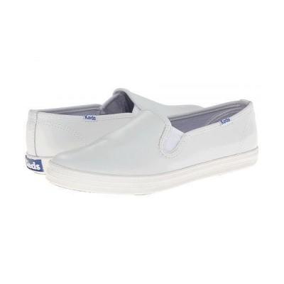 Keds ケッズ レディース 女性用 シューズ 靴 スニーカー 運動靴 Champion-Leather Slip-On - White Leather