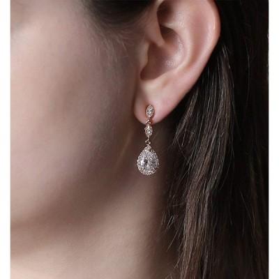 A+O Elegant Teardrop Cubic Zirconia Crystal Earrings in Silver, Gold,