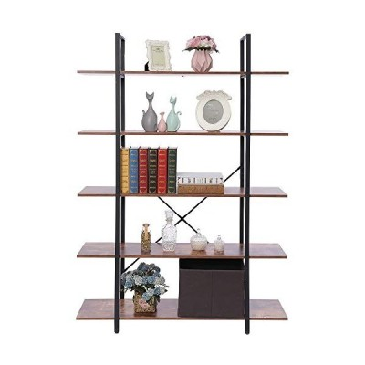USIKEY 5-Tier Vintage Industrial Bookshelf, Rustic Bookcase, Wood and Metal Frame Storage Rack Shelves, Storage Tower for Living Room, Bedroom, Open W