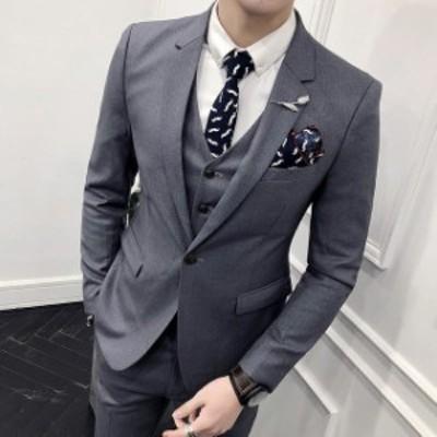 3ピーススーツ メンズスーツ 通勤 ビジネススーツ フォーマルスーツ 3点セット 無地 セットアップスーツ かっこいい 高品質