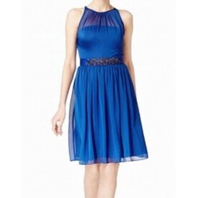 Adrianna Papell アドリアーナ パペル ファッション ドレス Adrianna Papell NEW Blue Womens Size 14 Embellished Sheath Dress