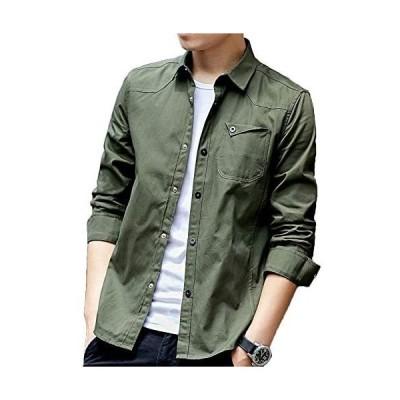 シャツ メンズ 長袖 シャツジャケット綿 ワイシャツ カジュアルシャツ 無地 オックスフォードシャツ ビジネス ボタンダウン (グリーン L)