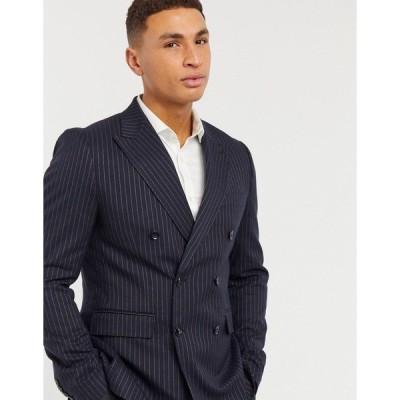 ジアーフラウド メンズ ジャケット&ブルゾン アウター Gianni Feraud skinny fit double breasted pinstripe suit jacket Navy