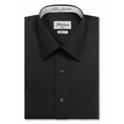 ファッション ドレス Berlioni Italy Mens Slim-Fit Premium French Convertible Cuff Solid Dress Shirt