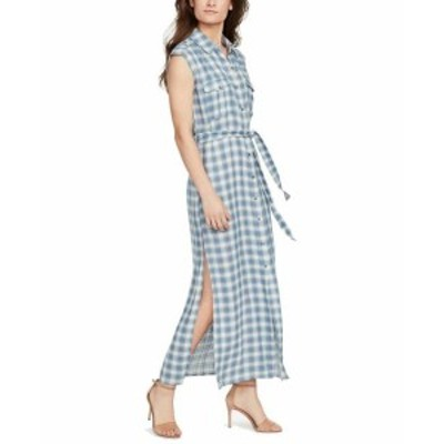 William Rast ウィリアムラスト ファッション ドレス William Rast NEW Blue Womens Size Medium M Plaid Slit Hem Maxi Dress