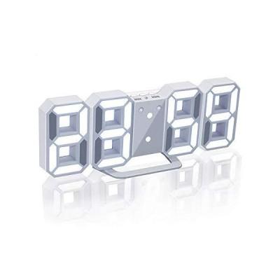Jコートン LEDデジタル時計 3Dデザイン アラーム機能付き 置き時計 壁掛け時計 明るさ調整 日本語取扱説明書付?