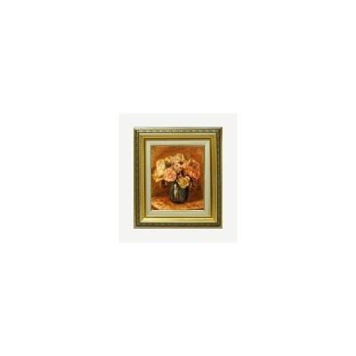 ルノワール Roses in a Blue Vase F3 【油絵 直筆 複製画】【ガラス板額縁付】 絵画 販売 油彩 静物画 418×366mm 送料無料 (ルノアール)