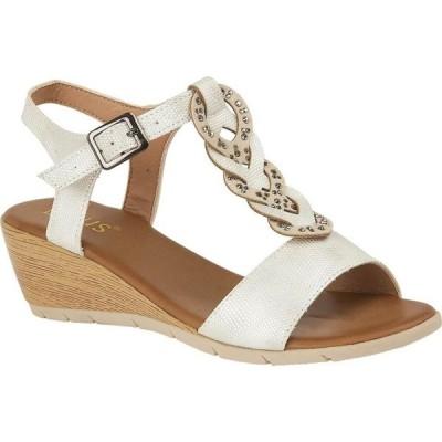 ロータス Lotus Shoes レディース サンダル・ミュール オープントゥ ウェッジソール シューズ・靴 Orta Open-Toe Wedge Sandals White
