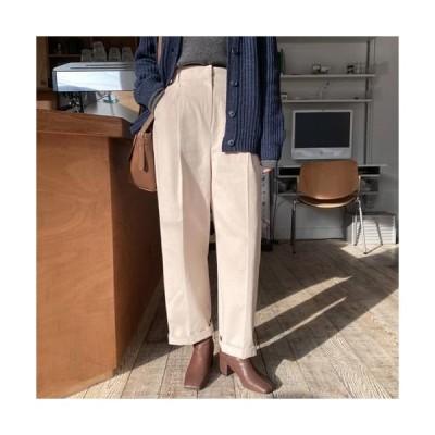MINIBBONG レディース パンツ Winter Broad Peach Fleece-lined ver. Pin Tuck Slacks Pants
