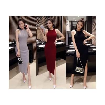 ロングドレス キャバドレス ドレス ナイトワークにもカジュアルにもセクシーなスリットデザイン ニット生地ワンピース
