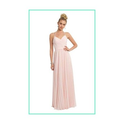 YGSY V-Neck A Line Open Back Long Bridesmaid Dress Chiffon Formal Evening Party Gown Blush Pink Size 2並行輸入品