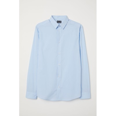 H&M - プレミアムコットンシャツ - ブルー