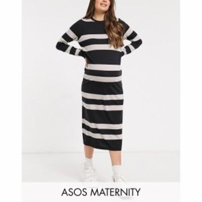 エイソス ASOS Maternity レディース ワンピース Asos Design Maternity Long Sleeve T-Shirt Midi Dress In Camel And Black Stripe