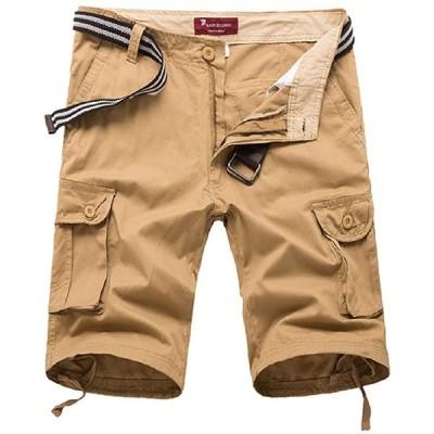 (DauStage) ミリタリー ハーフ パンツ 6カラー 6サイズ メンズ アーミー ボトムズ ミディアムパンツ (11,カーキ 38(9