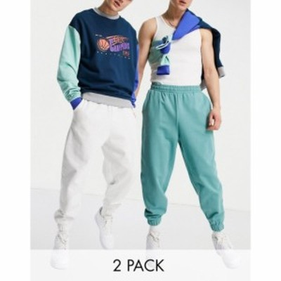 エイソス ASOS DESIGN メンズ ジョガーパンツ 2点セット ボトムス・パンツ organic oversized joggers 2 pack in blue/white