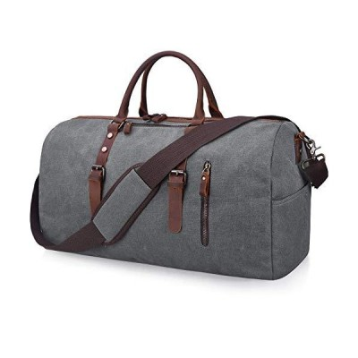 Travel Duffel Bag Large Canvas Duffle Bag for Men Women Leather Weekender Overnight Bag Carryon Weekend Bag Grey 並行輸入品