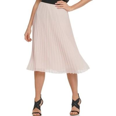 ダナ キャラン ニューヨーク レディース スカート ボトムス Chiffon Pleated Pull-On A-Line Midi Skirt Blush