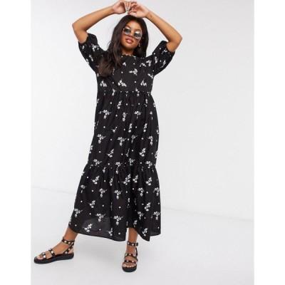 エイソス レディース ワンピース トップス ASOS DESIGN tiered cotton smock midi dress in mono floral print Black mono floral