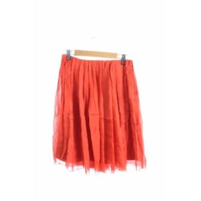 【中古】フレームワーク Framework スカート プリーツ ひざ丈 ジップフライ シルク 36 赤 レッド /TK30 レディース