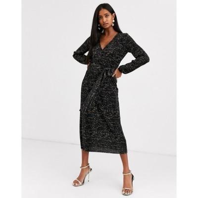 エイソス レディース ワンピース トップス ASOS DESIGN long sleeve glitter midi plisse tea dress