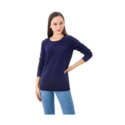 LAVIDENCE Women's 100% Cotton Lightweight Long-Sleeve Crew-Neck Sweater (L,
