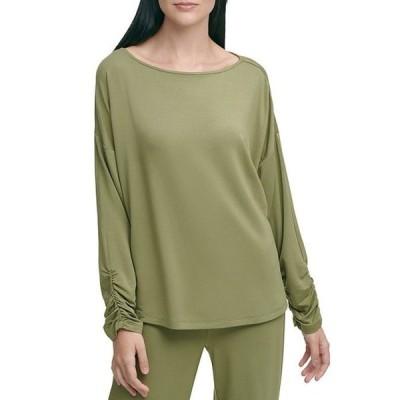 ダナ キャラン ニューヨーク レディース Tシャツ トップス Luxe Knit Jersey Ruched Long Sleeve T-Shirt