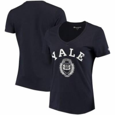Champion チャンピオン スポーツ用品  Champion Yale Bulldogs Womens Navy College Seal V-Neck T-Shirt
