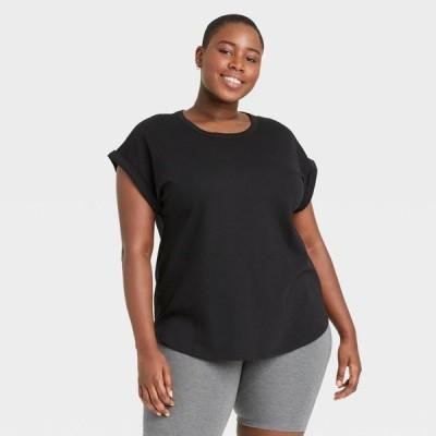 アヴァ&ヴィヴィ Ava & Viv レディース Tシャツ 大きいサイズ トップス Plus Size Striped Round Neck Cuffed T-Shirt - Black