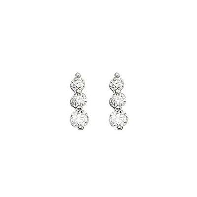 14k White Gold 1 ct 3 Stone Diamond Earring