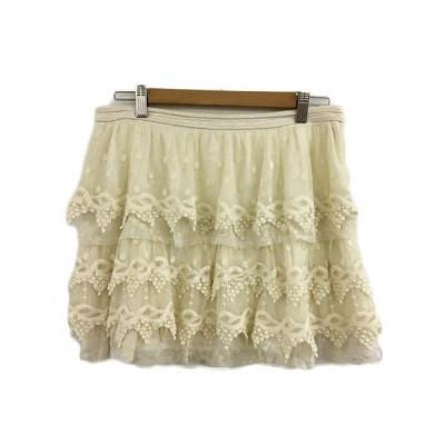 【中古】ザラ ベーシック ZARA BASIC スカート フレア ミニ フリル 総レース 刺繍 USA M ベージュ レディース 【ベクトル 古着】