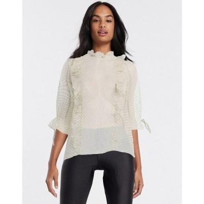 ピンキー Pimkie レディース ブラウス・シャツ トップス frill blouse in polka dots マルチカラー