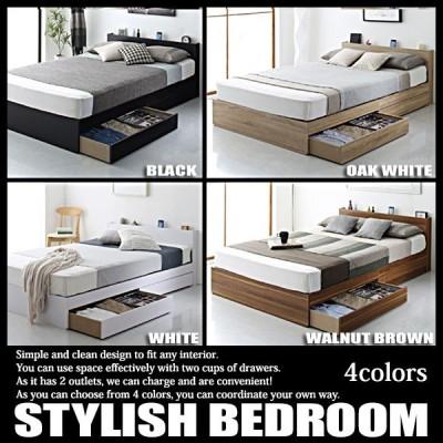ベッド シングル マットレス付き セット 収納 コンセント スタンダードボンネルコイルマットレス付き