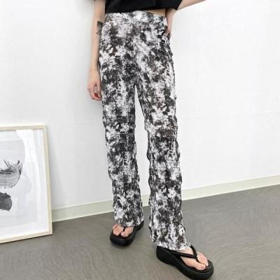 VANILLAMILK レディース パンツ Crepe print pleated pants