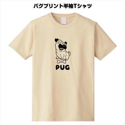 おもしろ顔パグプリント半袖Tシャツ