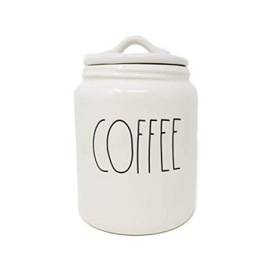 Rae Dunn By Magenta COFFEE Ceramic LL Medium 8 x 5 Canister (White)