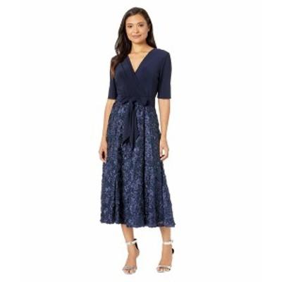 アレックスイブニングス レディース ワンピース トップス Tea Length Party Dress with Full Rosette Skirt, and Tie Faux Belt Navy