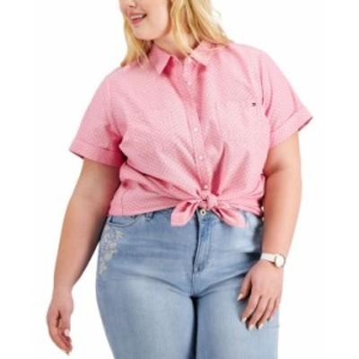 トミー ヒルフィガー レディース シャツ トップス Plus Size Cotton Pin-Dot Camp Shirt Hibiscus Multi