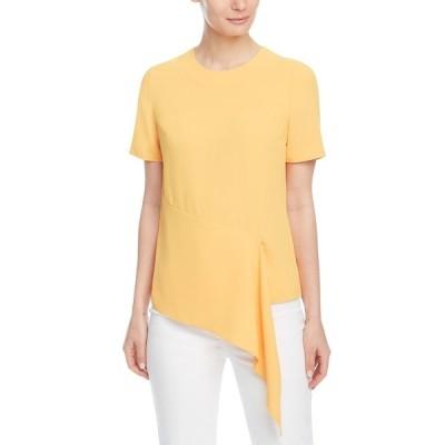 アンクライン カットソー トップス レディース Crewneck Asymmetric Top Mondrian Yellow
