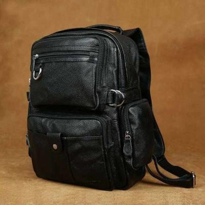 バッグ メンズ New Genuine leather Travel bag shoulder bag Laptop Backpack Handbag Black J3001
