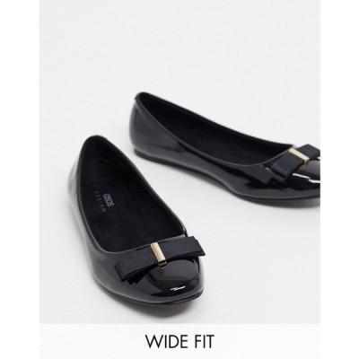 エイソス ASOS DESIGN レディース スリッポン・フラット シューズ・靴 Wide Fit Luna bow ballet flats in black patent ブラック