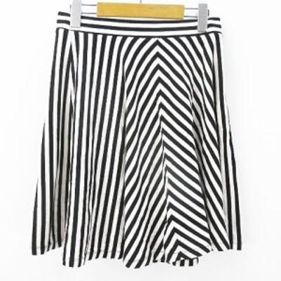 【中古】ユニクロ UNIQLO ストライプ柄 ミニスカート フレア ギャザー S ホワイト 白系 ブラック 黒系 ストレッチ 綿