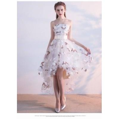 ワンピース ドレス ミニ丈 フィッシュテール ベアトップ ウエディング ブライダル パーティー 上品 フォーマル 結婚式 20代 春夏 d546
