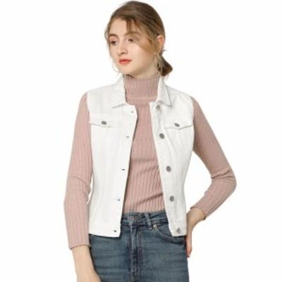 Allegra K デニムベスト ノースリーブ 袖なし 胸ポケット シングルブレスト カジュアル レディース ホワイト XS