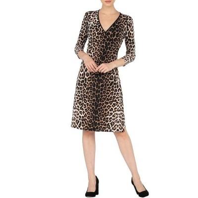 エババーロ レディース ワンピース トップス V-Neck 3/4 Sleeve Faux Wrap Cheetah Print Dress Brooke